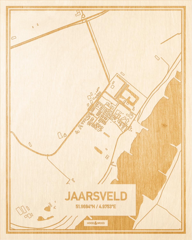 Het wegennet van de plattegrond Jaarsveld gegraveerd in hout. Het resultaat is een prachtige houten kaart van een van de gezelligste plekken uit Utrecht voor aan je muur als decoratie.