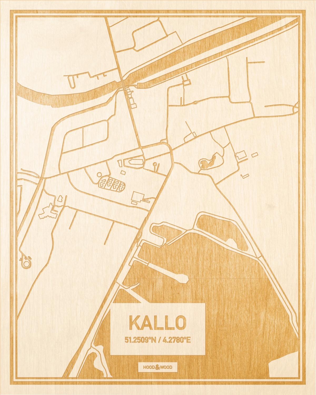 Het wegennet van de plattegrond Kallo gegraveerd in hout. Het resultaat is een prachtige houten kaart van een van de mooiste plekken uit Oost-Vlaanderen  voor aan je muur als decoratie.