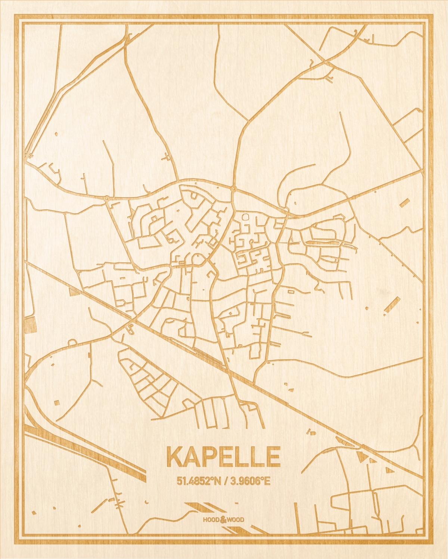 Het wegennet van de plattegrond Kapelle gegraveerd in hout. Het resultaat is een prachtige houten kaart van een van de beste plekken uit Zeeland voor aan je muur als decoratie.