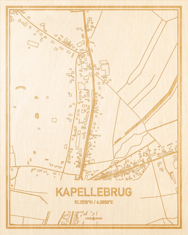 Het wegennet van de plattegrond Kapellebrug gegraveerd in hout. Het resultaat is een prachtige houten kaart van een van de gezelligste plekken uit Zeeland voor aan je muur als decoratie.