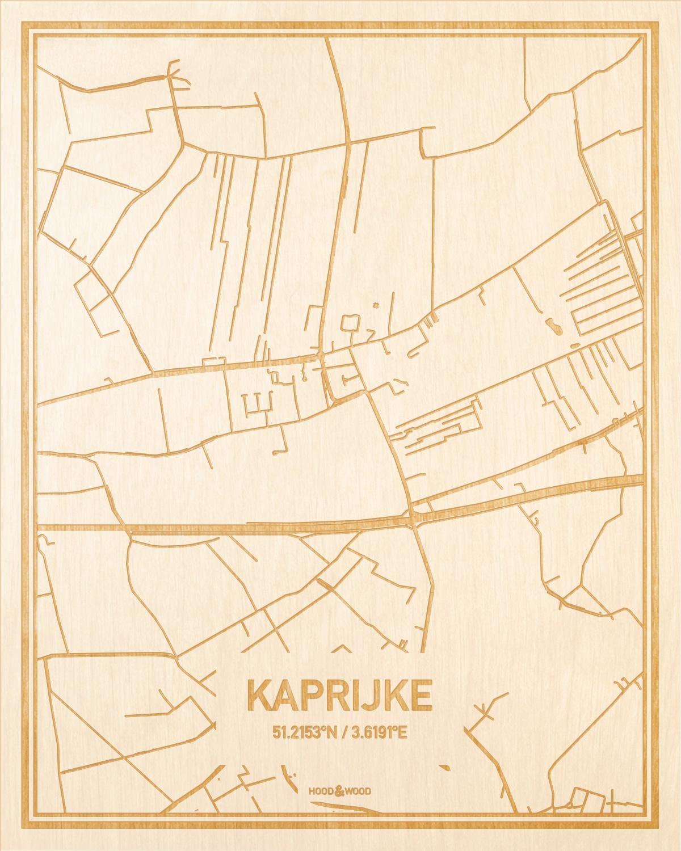 Het wegennet van de plattegrond Kaprijke gegraveerd in hout. Het resultaat is een prachtige houten kaart van een van de beste plekken uit Oost-Vlaanderen  voor aan je muur als decoratie.