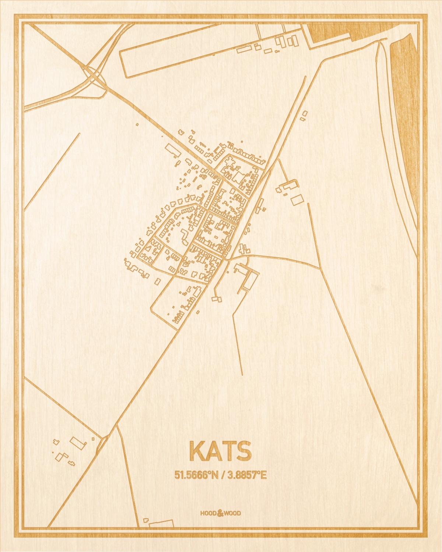 Het wegennet van de plattegrond Kats gegraveerd in hout. Het resultaat is een prachtige houten kaart van een van de beste plekken uit Zeeland voor aan je muur als decoratie.