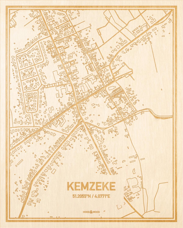 Het wegennet van de plattegrond Kemzeke gegraveerd in hout. Het resultaat is een prachtige houten kaart van een van de gezelligste plekken uit Oost-Vlaanderen  voor aan je muur als decoratie.