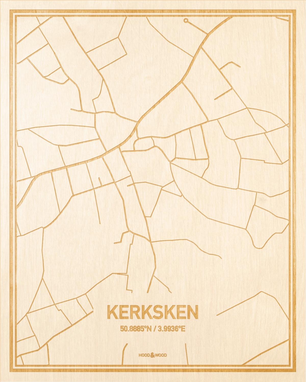 Het wegennet van de plattegrond Kerksken gegraveerd in hout. Het resultaat is een prachtige houten kaart van een van de mooiste plekken uit Oost-Vlaanderen  voor aan je muur als decoratie.
