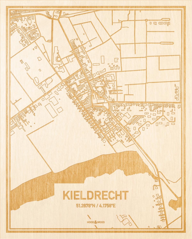 Het wegennet van de plattegrond Kieldrecht gegraveerd in hout. Het resultaat is een prachtige houten kaart van een van de leukste plekken uit Oost-Vlaanderen  voor aan je muur als decoratie.