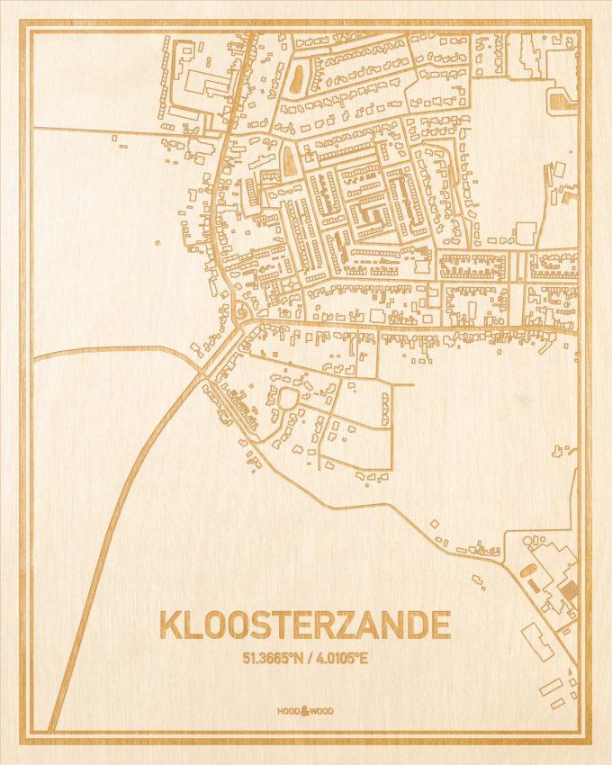 Het wegennet van de plattegrond Kloosterzande gegraveerd in hout. Het resultaat is een prachtige houten kaart van een van de mooiste plekken uit Zeeland voor aan je muur als decoratie.