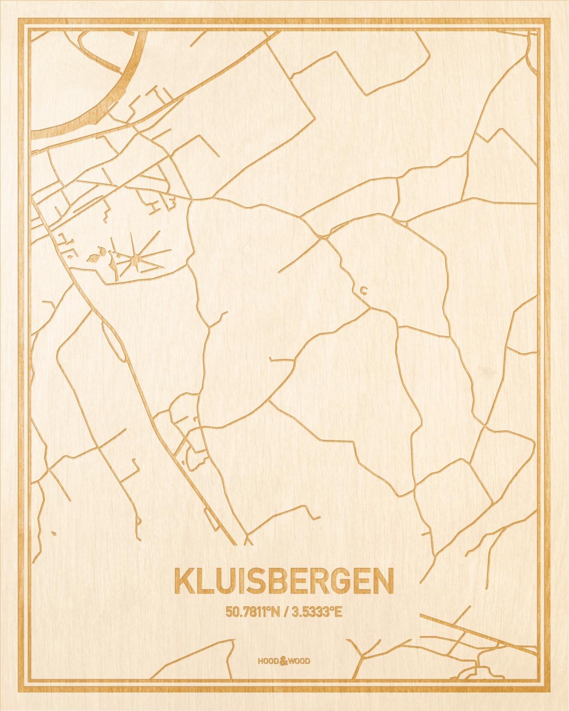 Het wegennet van de plattegrond Kluisbergen gegraveerd in hout. Het resultaat is een prachtige houten kaart van een van de beste plekken uit Oost-Vlaanderen  voor aan je muur als decoratie.