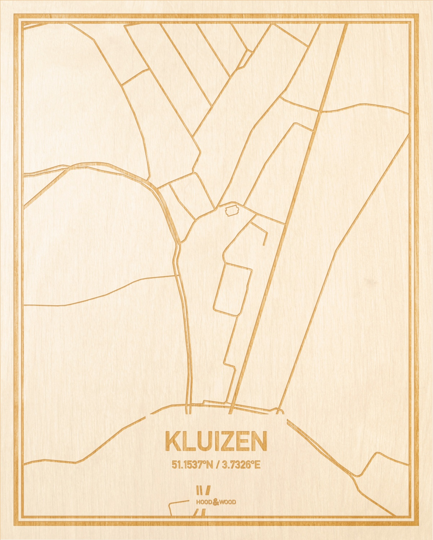 Het wegennet van de plattegrond Kluizen gegraveerd in hout. Het resultaat is een prachtige houten kaart van een van de mooiste plekken uit Oost-Vlaanderen  voor aan je muur als decoratie.