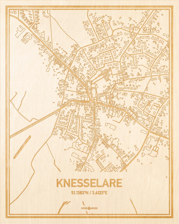 Het wegennet van de plattegrond Knesselare gegraveerd in hout. Het resultaat is een prachtige houten kaart van een van de beste plekken uit Oost-Vlaanderen  voor aan je muur als decoratie.