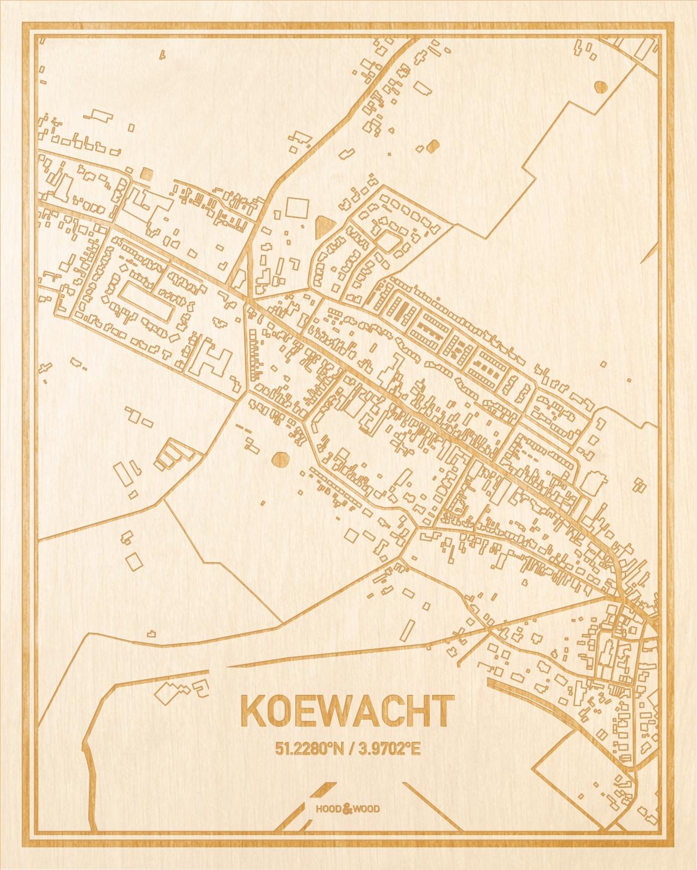 Het wegennet van de plattegrond Koewacht gegraveerd in hout. Het resultaat is een prachtige houten kaart van een van de gezelligste plekken uit Zeeland voor aan je muur als decoratie.