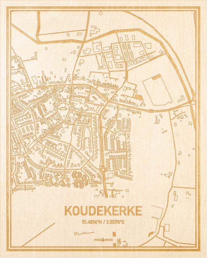 Het wegennet van de plattegrond Koudekerke gegraveerd in hout. Het resultaat is een prachtige houten kaart van een van de mooiste plekken uit Zeeland voor aan je muur als decoratie.