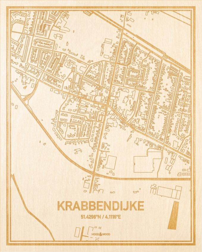 Het wegennet van de plattegrond Krabbendijke gegraveerd in hout. Het resultaat is een prachtige houten kaart van een van de charmantse plekken uit Zeeland voor aan je muur als decoratie.