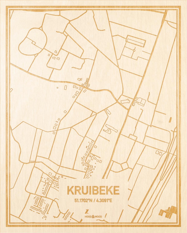Het wegennet van de plattegrond Kruibeke gegraveerd in hout. Het resultaat is een prachtige houten kaart van een van de mooiste plekken uit Oost-Vlaanderen  voor aan je muur als decoratie.