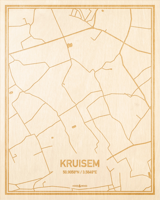 Het wegennet van de plattegrond Kruisem gegraveerd in hout. Het resultaat is een prachtige houten kaart van een van de gezelligste plekken uit Oost-Vlaanderen  voor aan je muur als decoratie.