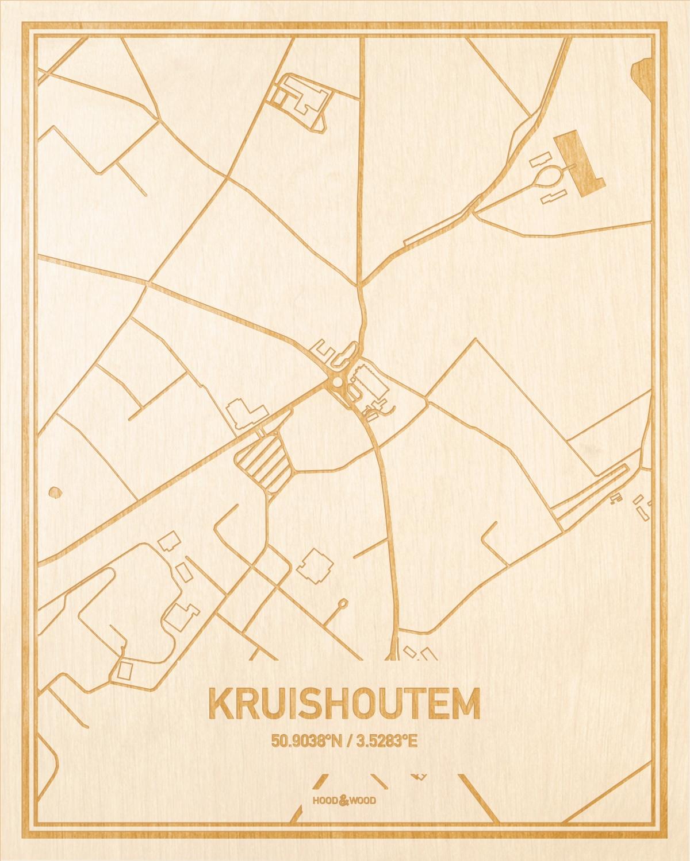 Het wegennet van de plattegrond Kruishoutem gegraveerd in hout. Het resultaat is een prachtige houten kaart van een van de leukste plekken uit Oost-Vlaanderen  voor aan je muur als decoratie.
