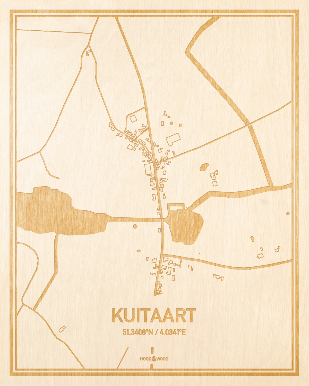 Het wegennet van de plattegrond Kuitaart gegraveerd in hout. Het resultaat is een prachtige houten kaart van een van de leukste plekken uit Zeeland voor aan je muur als decoratie.