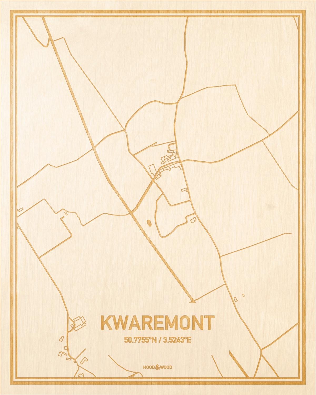 Het wegennet van de plattegrond Kwaremont gegraveerd in hout. Het resultaat is een prachtige houten kaart van een van de leukste plekken uit Oost-Vlaanderen  voor aan je muur als decoratie.