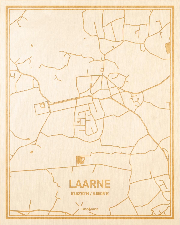 Het wegennet van de plattegrond Laarne gegraveerd in hout. Het resultaat is een prachtige houten kaart van een van de mooiste plekken uit Oost-Vlaanderen  voor aan je muur als decoratie.