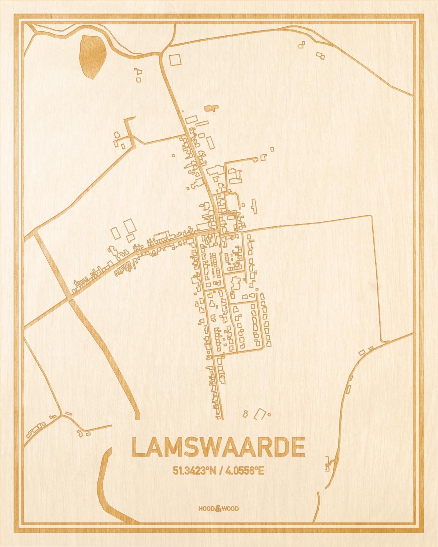Het wegennet van de plattegrond Lamswaarde gegraveerd in hout. Het resultaat is een prachtige houten kaart van een van de beste plekken uit Zeeland voor aan je muur als decoratie.