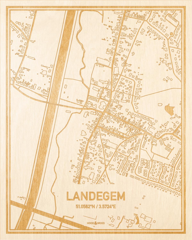 Het wegennet van de plattegrond Landegem gegraveerd in hout. Het resultaat is een prachtige houten kaart van een van de gezelligste plekken uit Oost-Vlaanderen  voor aan je muur als decoratie.