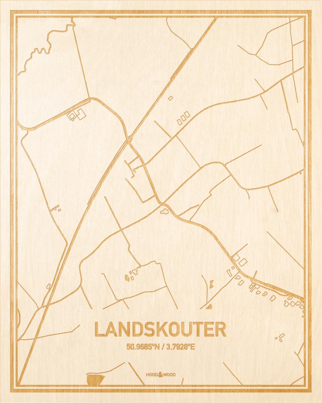 Het wegennet van de plattegrond Landskouter gegraveerd in hout. Het resultaat is een prachtige houten kaart van een van de charmantse plekken uit Oost-Vlaanderen  voor aan je muur als decoratie.