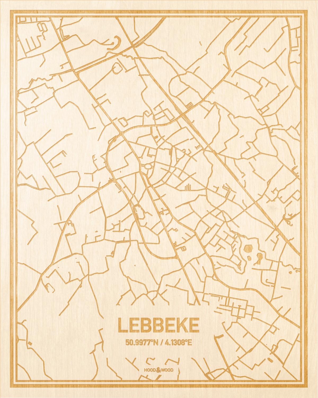 Het wegennet van de plattegrond Lebbeke gegraveerd in hout. Het resultaat is een prachtige houten kaart van een van de gezelligste plekken uit Oost-Vlaanderen  voor aan je muur als decoratie.