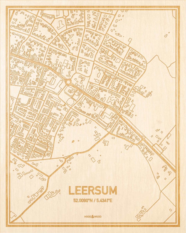 Het wegennet van de plattegrond Leersum gegraveerd in hout. Het resultaat is een prachtige houten kaart van een van de charmantse plekken uit Utrecht voor aan je muur als decoratie.