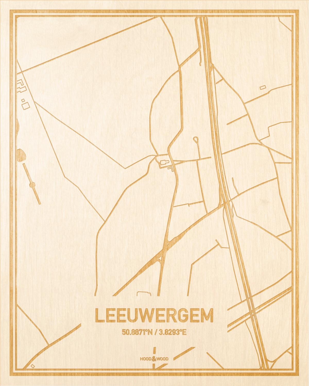 Het wegennet van de plattegrond Leeuwergem gegraveerd in hout. Het resultaat is een prachtige houten kaart van een van de gezelligste plekken uit Oost-Vlaanderen  voor aan je muur als decoratie.