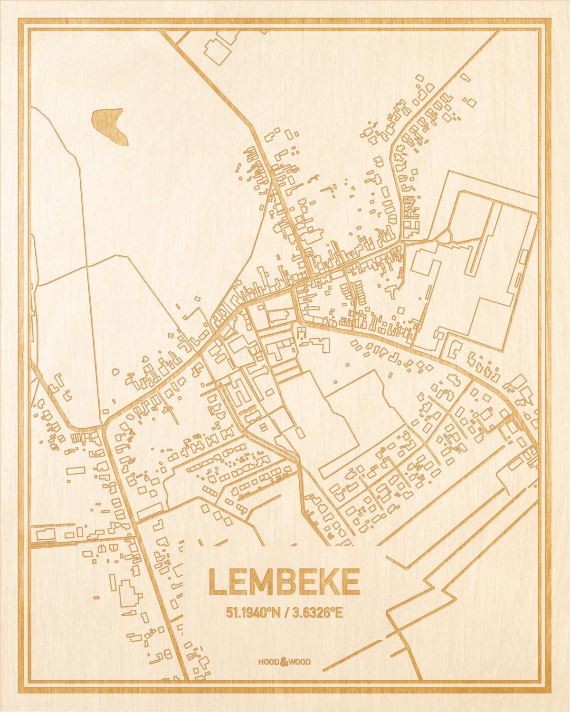 Het wegennet van de plattegrond Lembeke gegraveerd in hout. Het resultaat is een prachtige houten kaart van een van de gezelligste plekken uit Oost-Vlaanderen  voor aan je muur als decoratie.