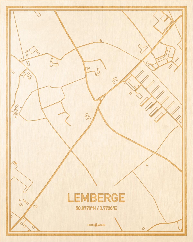 Het wegennet van de plattegrond Lemberge gegraveerd in hout. Het resultaat is een prachtige houten kaart van een van de gezelligste plekken uit Oost-Vlaanderen  voor aan je muur als decoratie.