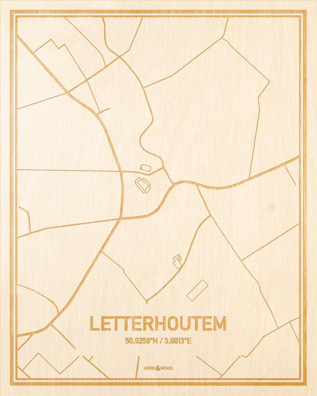 Het wegennet van de plattegrond Letterhoutem gegraveerd in hout. Het resultaat is een prachtige houten kaart van een van de charmantse plekken uit Oost-Vlaanderen  voor aan je muur als decoratie.