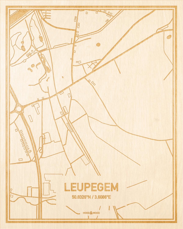Het wegennet van de plattegrond Leupegem gegraveerd in hout. Het resultaat is een prachtige houten kaart van een van de gezelligste plekken uit Oost-Vlaanderen  voor aan je muur als decoratie.
