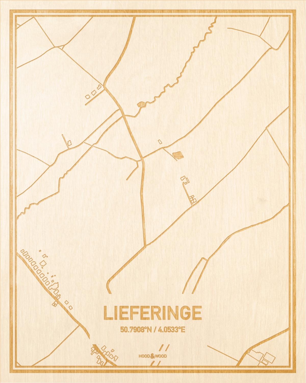 Het wegennet van de plattegrond Lieferinge gegraveerd in hout. Het resultaat is een prachtige houten kaart van een van de charmantse plekken uit Oost-Vlaanderen  voor aan je muur als decoratie.