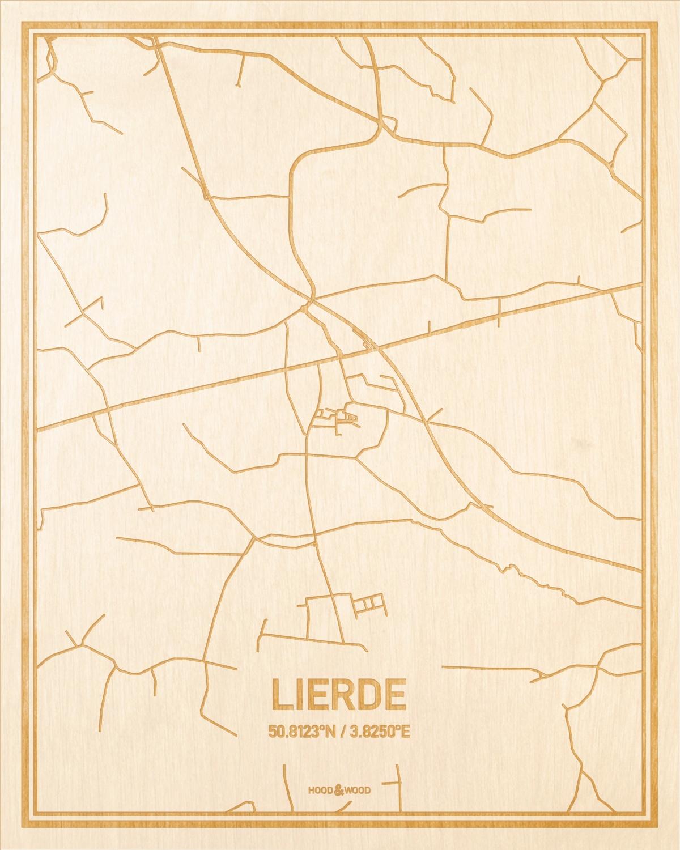 Het wegennet van de plattegrond Lierde gegraveerd in hout. Het resultaat is een prachtige houten kaart van een van de beste plekken uit Oost-Vlaanderen  voor aan je muur als decoratie.