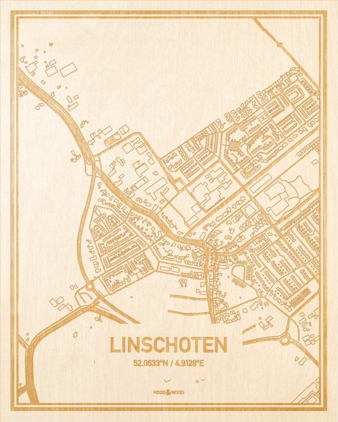 Het wegennet van de plattegrond Linschoten gegraveerd in hout. Het resultaat is een prachtige houten kaart van een van de mooiste plekken uit Utrecht voor aan je muur als decoratie.