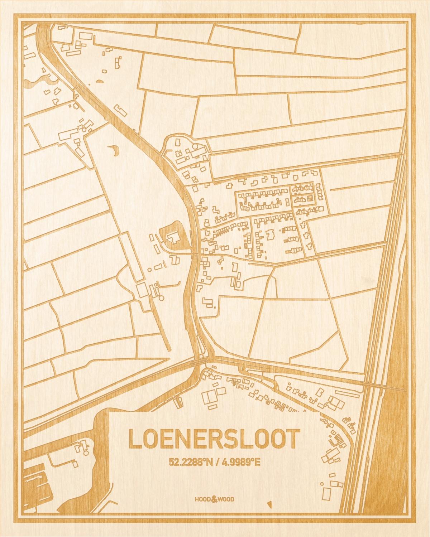 Het wegennet van de plattegrond Loenersloot gegraveerd in hout. Het resultaat is een prachtige houten kaart van een van de charmantse plekken uit Utrecht voor aan je muur als decoratie.