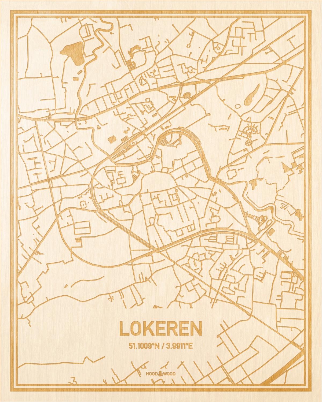 Het wegennet van de plattegrond Lokeren gegraveerd in hout. Het resultaat is een prachtige houten kaart van een van de charmantse plekken uit Oost-Vlaanderen  voor aan je muur als decoratie.