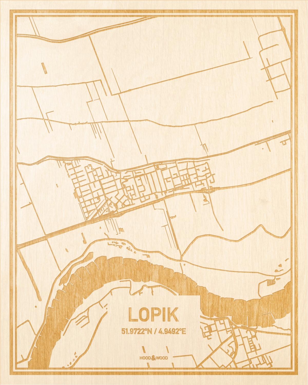 Het wegennet van de plattegrond Lopik gegraveerd in hout. Het resultaat is een prachtige houten kaart van een van de charmantse plekken uit Utrecht voor aan je muur als decoratie.