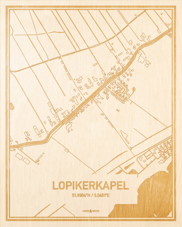 Het wegennet van de plattegrond Lopikerkapel gegraveerd in hout. Het resultaat is een prachtige houten kaart van een van de charmantse plekken uit Utrecht voor aan je muur als decoratie.
