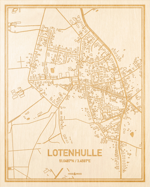 Het wegennet van de plattegrond Lotenhulle gegraveerd in hout. Het resultaat is een prachtige houten kaart van een van de gezelligste plekken uit Oost-Vlaanderen  voor aan je muur als decoratie.