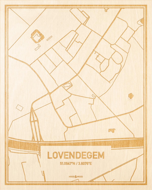 Het wegennet van de plattegrond Lovendegem gegraveerd in hout. Het resultaat is een prachtige houten kaart van een van de leukste plekken uit Oost-Vlaanderen  voor aan je muur als decoratie.
