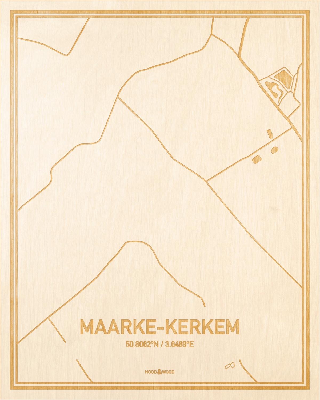 Het wegennet van de plattegrond Maarke-Kerkem gegraveerd in hout. Het resultaat is een prachtige houten kaart van een van de mooiste plekken uit Oost-Vlaanderen  voor aan je muur als decoratie.