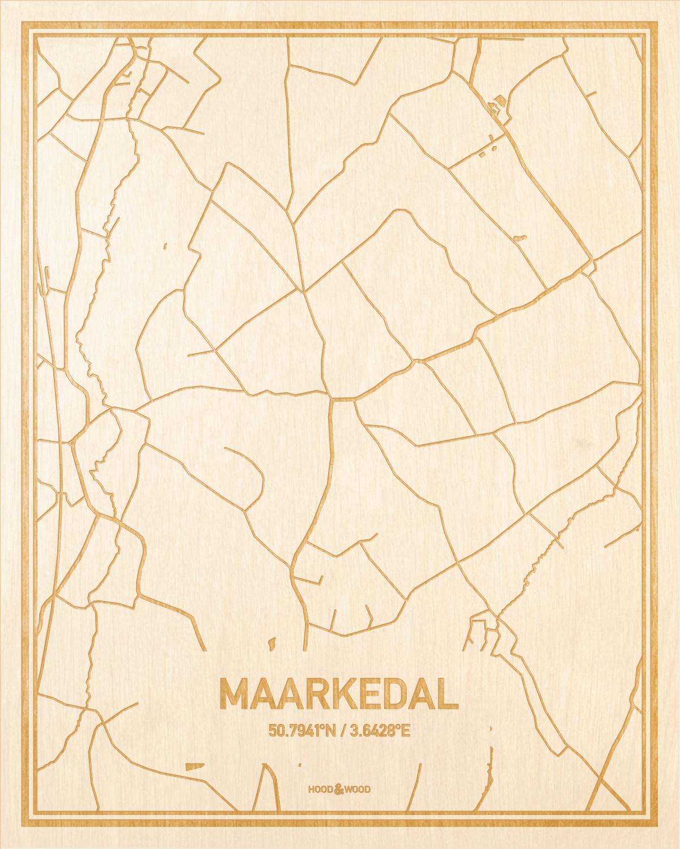 Het wegennet van de plattegrond Maarkedal gegraveerd in hout. Het resultaat is een prachtige houten kaart van een van de mooiste plekken uit Oost-Vlaanderen  voor aan je muur als decoratie.