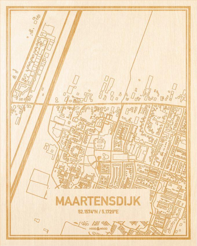 Het wegennet van de plattegrond Maartensdijk gegraveerd in hout. Het resultaat is een prachtige houten kaart van een van de charmantse plekken uit Utrecht voor aan je muur als decoratie.