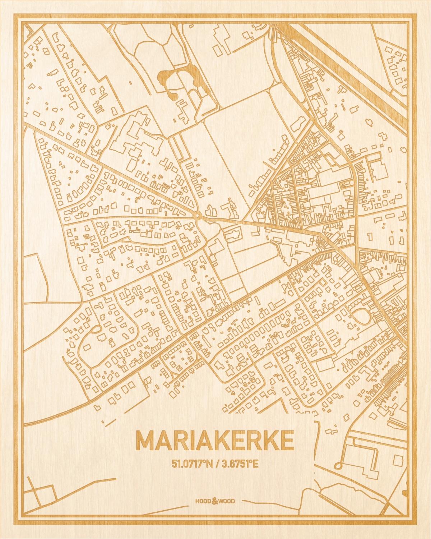 Het wegennet van de plattegrond Mariakerke gegraveerd in hout. Het resultaat is een prachtige houten kaart van een van de mooiste plekken uit Oost-Vlaanderen  voor aan je muur als decoratie.