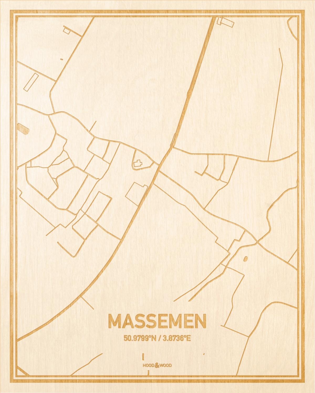 Het wegennet van de plattegrond Massemen gegraveerd in hout. Het resultaat is een prachtige houten kaart van een van de mooiste plekken uit Oost-Vlaanderen  voor aan je muur als decoratie.