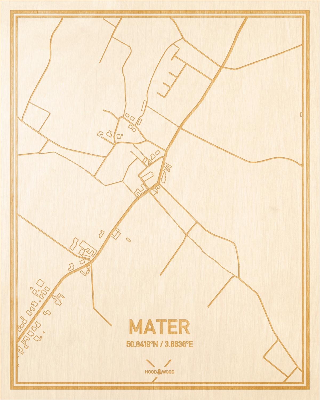 Het wegennet van de plattegrond Mater gegraveerd in hout. Het resultaat is een prachtige houten kaart van een van de leukste plekken uit Oost-Vlaanderen  voor aan je muur als decoratie.