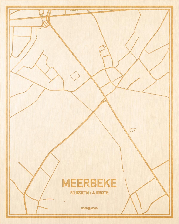 Het wegennet van de plattegrond Meerbeke gegraveerd in hout. Het resultaat is een prachtige houten kaart van een van de beste plekken uit Oost-Vlaanderen  voor aan je muur als decoratie.