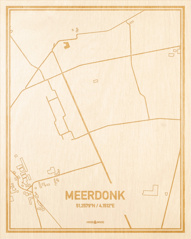 Het wegennet van de plattegrond Meerdonk gegraveerd in hout. Het resultaat is een prachtige houten kaart van een van de beste plekken uit Oost-Vlaanderen  voor aan je muur als decoratie.