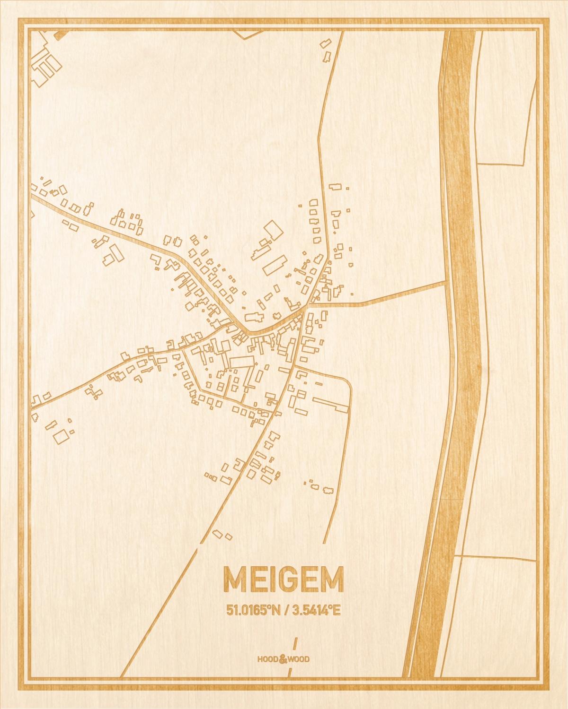Het wegennet van de plattegrond Meigem gegraveerd in hout. Het resultaat is een prachtige houten kaart van een van de mooiste plekken uit Oost-Vlaanderen  voor aan je muur als decoratie.